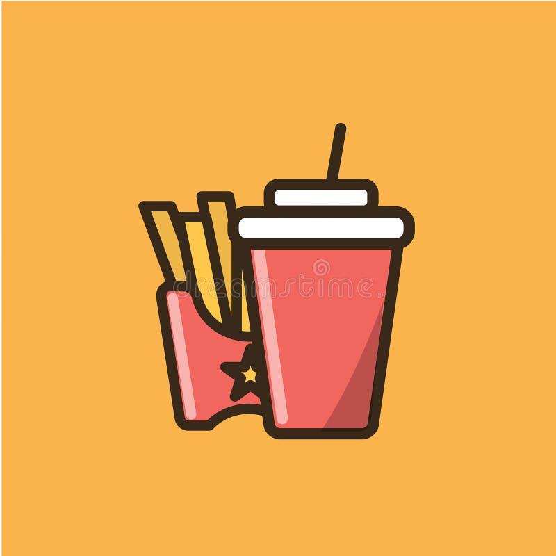 苏打软饮料和炸薯条 库存例证