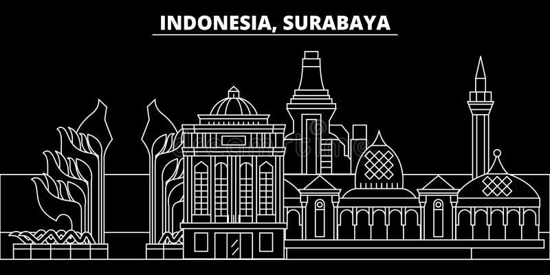 苏拉巴亚剪影地平线 印度尼西亚-苏拉巴亚传染媒介城市,印度尼西亚线性建筑学,大厦 苏拉巴亚 向量例证