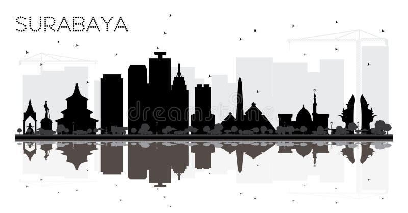 苏拉巴亚印度尼西亚市地平线黑白剪影与 向量例证