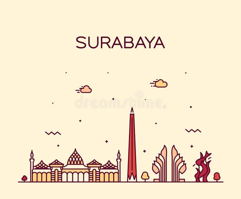 苏拉巴亚地平线线性东爪哇省印度尼西亚的传染媒介 皇族释放例证