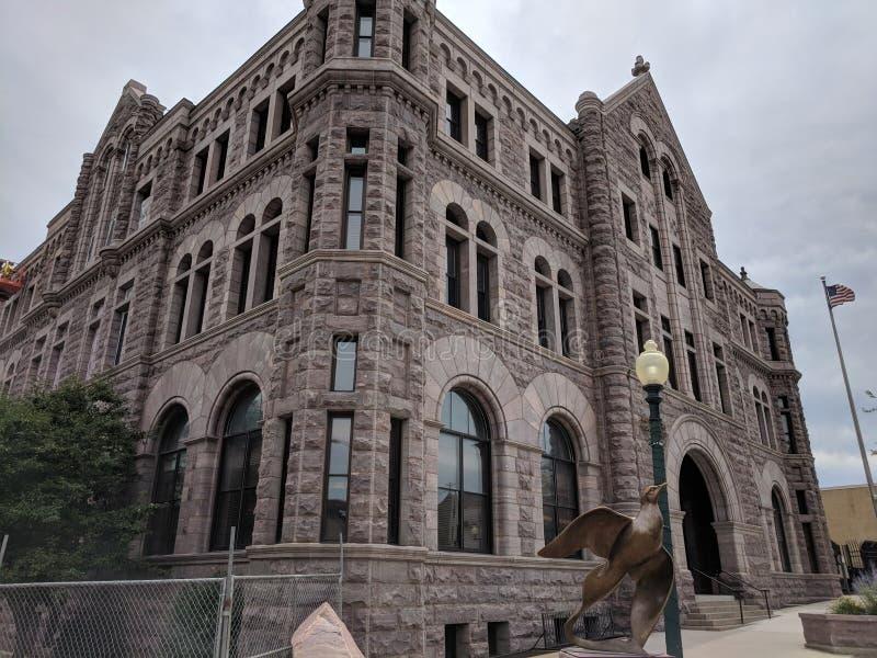 苏族瀑布的, SD美国法院大楼 免版税库存图片