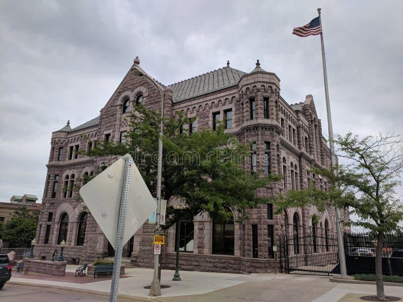 苏族瀑布的, SD美国法院大楼 图库摄影