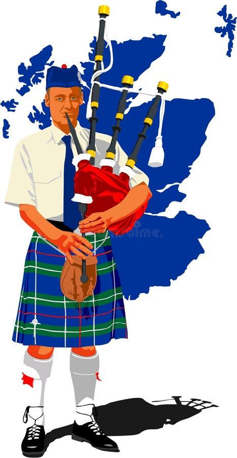 苏格兰吹笛者 向量例证