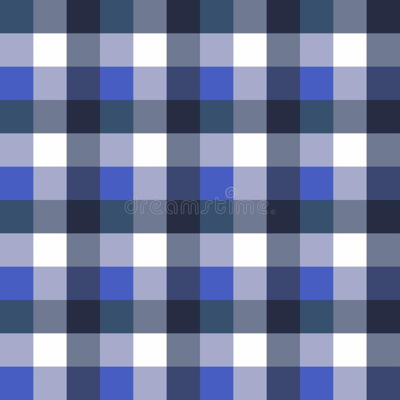 苏格兰无缝的格子花 减速火箭的方形的桌布样式 与蓝色的纹理 库存例证