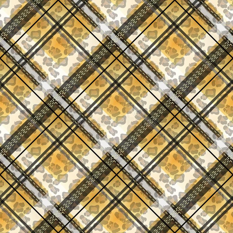 苏格兰格子呢难看的东西无缝的样式豹子斑点 有豹子样式的格子呢 10 eps 皇族释放例证