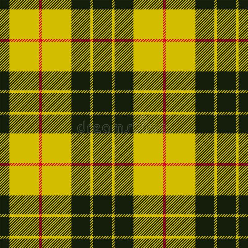苏格兰格子花呢披肩,在黄色的黑带 麦克劳德格子呢无缝的p 向量例证