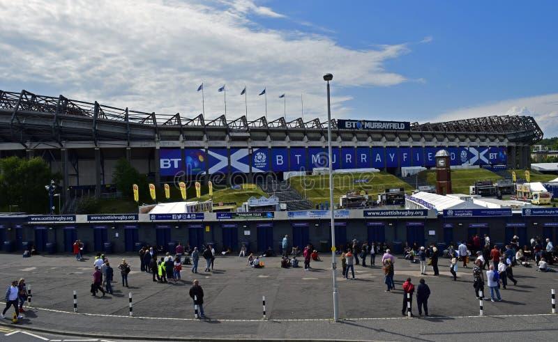 苏格兰橄榄球的BT Murrayfield家 库存图片