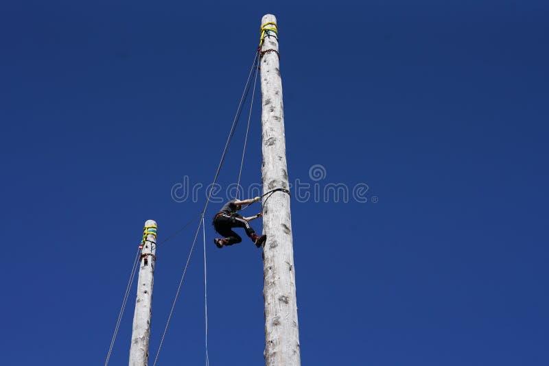 苏格兰波兰人上升和电线杆上升的冠军 库存照片