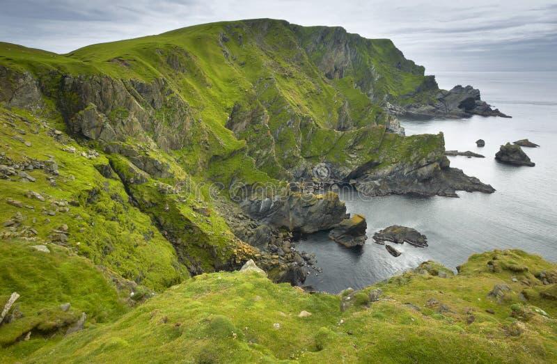 苏格兰海岸线风景在舍特兰群岛 苏格兰 英国 免版税库存图片