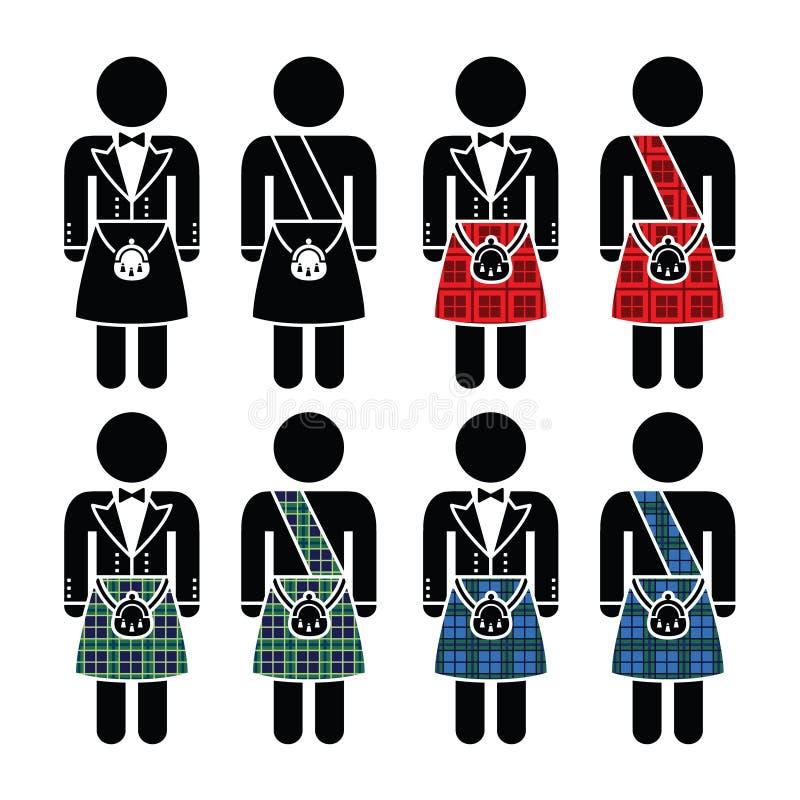 苏格兰男子,被设置的人佩带的苏格兰男用短裙象 皇族释放例证