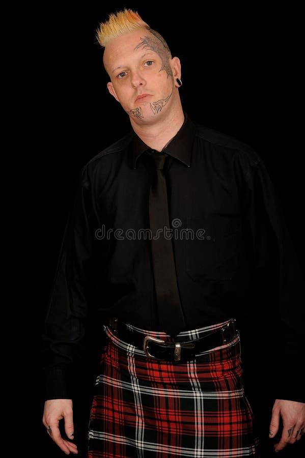 苏格兰男用短裙人格子花呢披肩佩带 免版税库存照片