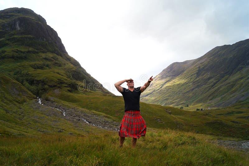 苏格兰男用短裙的苏格兰 免版税库存照片