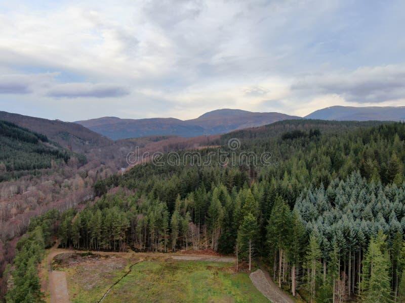 苏格兰高地的国立公园-在Contin镇的山风景 库存图片