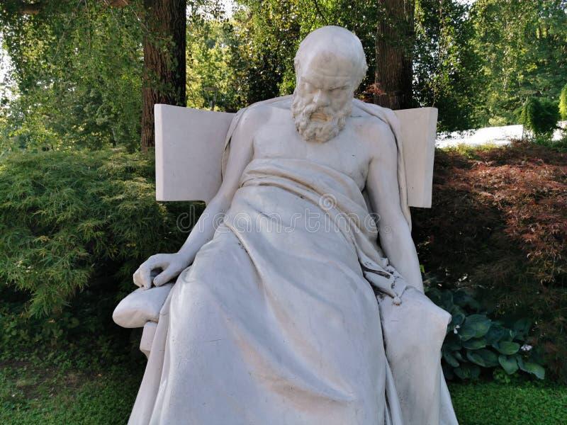 苏格拉底垂死的雕塑 库存图片