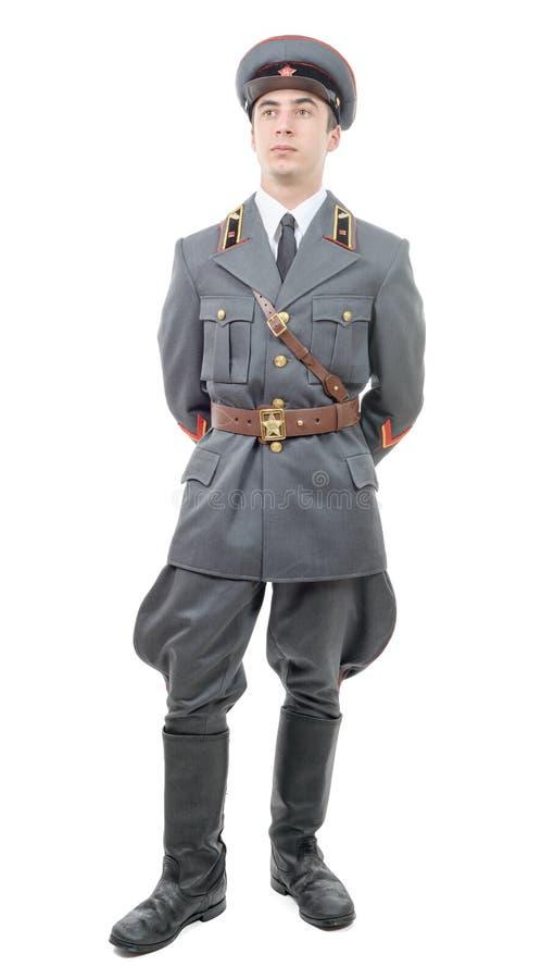 苏联军队的一名年轻官员的画象,隔绝在丝毫 免版税库存照片
