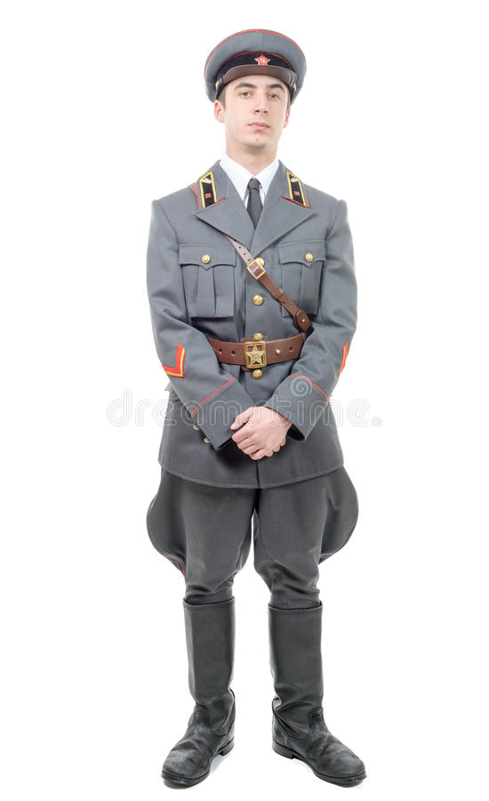 苏联军队的一名年轻官员的画象,隔绝在丝毫 免版税库存图片