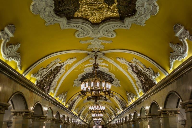 苏联时代地铁站的印象深刻的装饰在Mo 库存照片