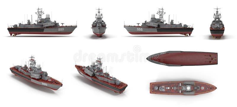 苏联海军Nanuchka类估计的导弹轻武装快舰1234回报从不同的角度的集合在白色 3d 向量例证