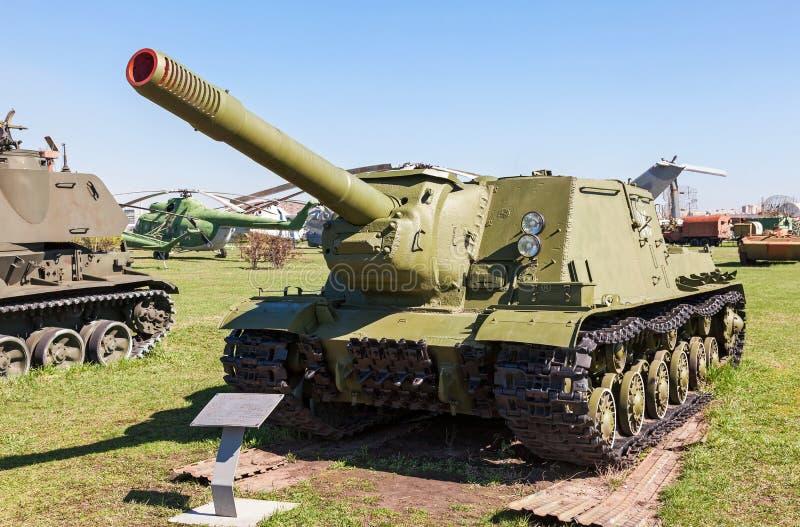 苏联自走火炮枪ISU-152 免版税库存图片
