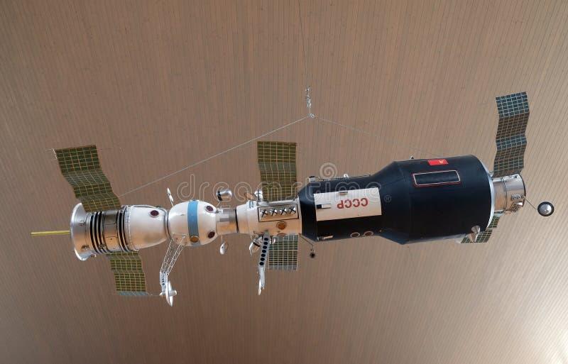苏联轨道驻地的模型,太空飞船联盟号 库存照片