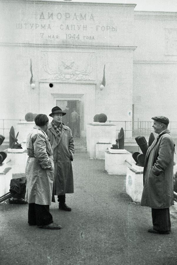 苏联退伍军人在塞瓦斯托波尔,克里米亚,苏联, 1950年 图库摄影