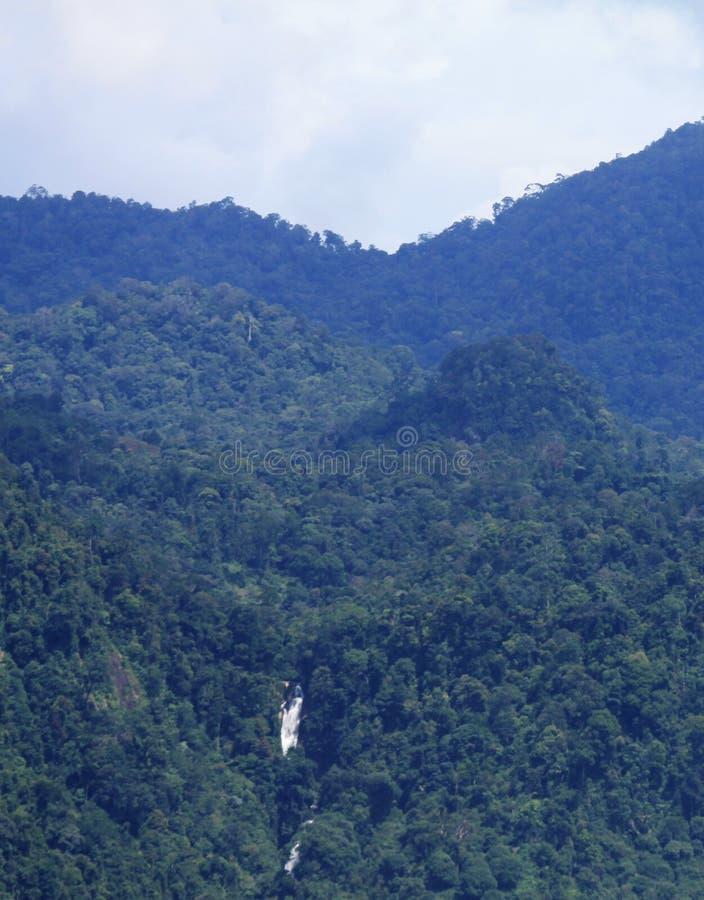 苏门答腊雨林遥远的瀑布 免版税库存照片
