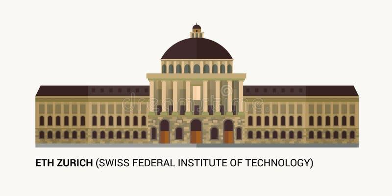 苏黎世联邦工业大学瑞士联邦技术研究所 瑞士联邦技术研究所门面 向量例证