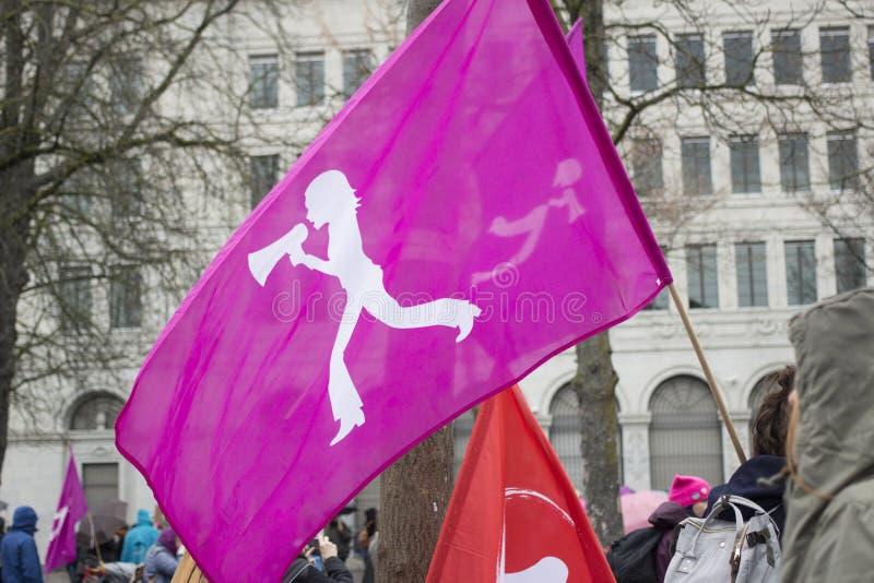 苏黎世Women' s 3月旗子 库存照片