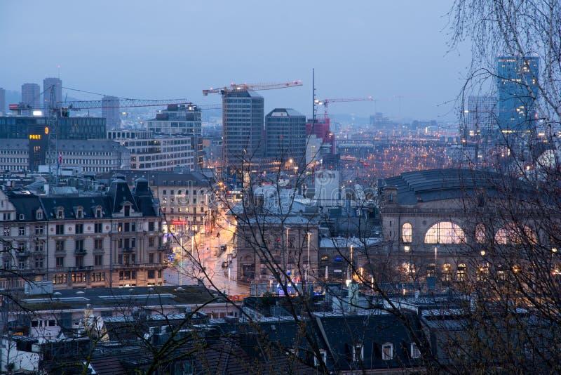 苏黎世都市风景在黎明 免版税库存图片