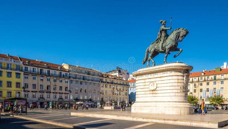 若昂I国王的纪念碑在Figueira位置在里斯本-葡萄牙 图库摄影