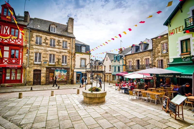 若瑟兰,法国- 2012年6月27日 历史的五颜六色的正方形在不列塔尼 库存照片
