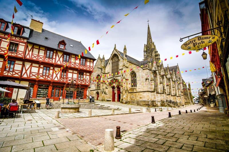 若瑟兰,法国- 2012年6月27日 历史的五颜六色的正方形在不列塔尼 免版税库存照片