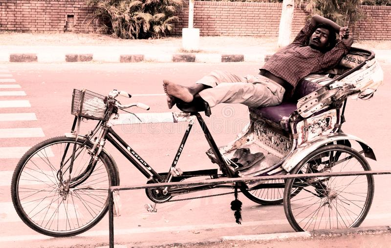 苦干者在昌迪加尔印度睡觉了 免版税库存照片