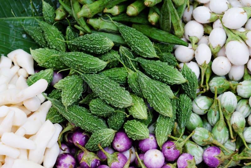 苦涩金瓜、苦瓜属charantia和白色,绿色,紫色鸡蛋 库存照片