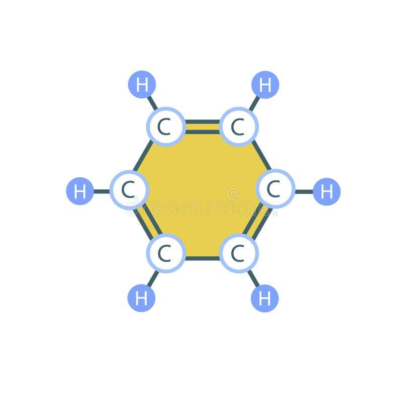 苯分子象,平的样式 库存例证