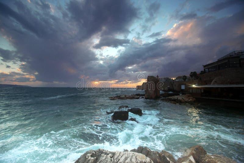 英亩城市以色列日落 库存图片