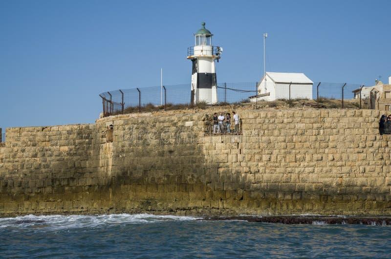 英亩的灯塔和防波堤英亩,以色列 库存照片