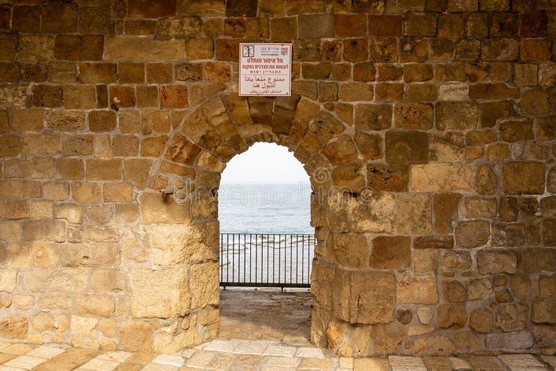 英亩,以色列- 2018年4月3日:在沿海岸区视图的设防在英亩市中心以色列 免版税库存照片