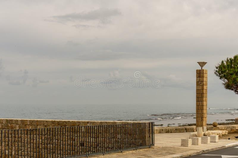 英亩,以色列- 2018年4月3日:沿海岸区视图在英亩市中心以色列 免版税图库摄影