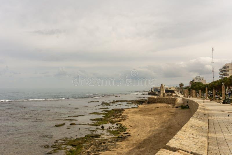 英亩,以色列- 2018年4月3日:沿海岸区视图在英亩市中心以色列 免版税库存图片
