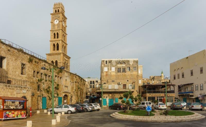 英亩,以色列- 2018年4月3日:钟楼在Akko以色列老  库存照片
