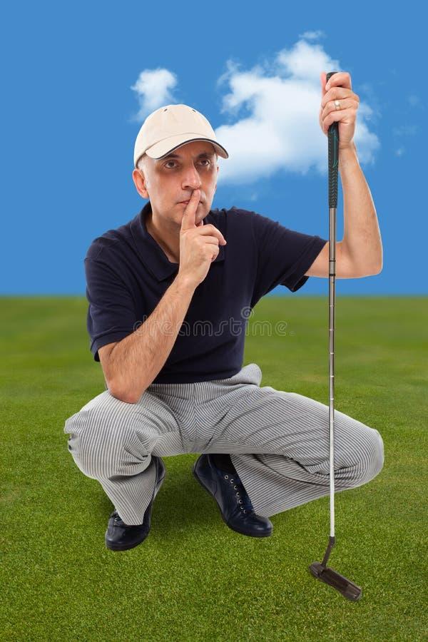 英俊成熟男性高尔夫球运动员认为 库存照片
