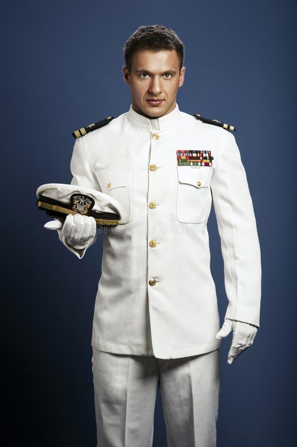 英俊的上尉海船 库存图片