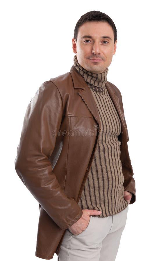 英俊的人佩带的皮夹克 库存图片