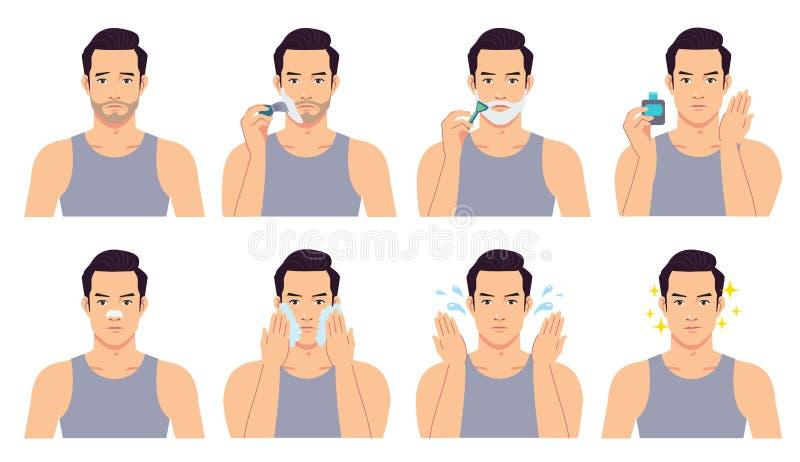 英俊的人刮,洗涤和对待他的面孔与各种各样的行动 库存例证