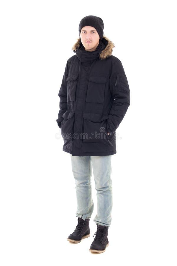 年轻英俊的人时尚画象黑冬天夹克的是 库存照片