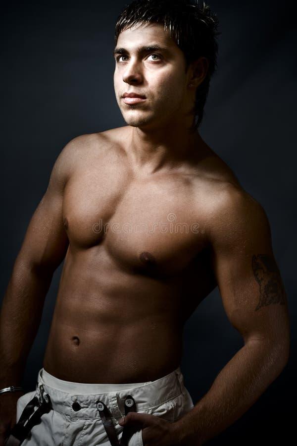 英俊的人肌肉性感 库存图片