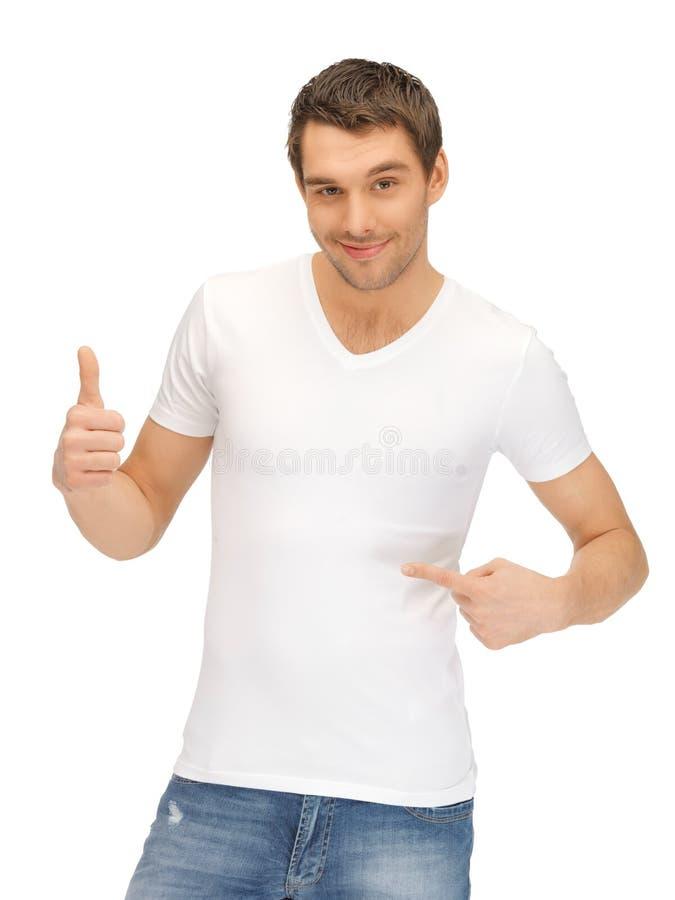 英俊的人衬衣白色 库存照片