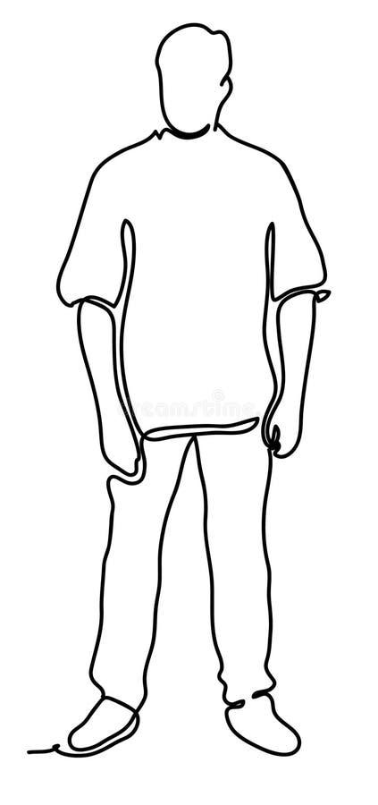 英俊的人 实线图画 查出在空白背景 传染媒介黑白照片,画由线 向量例证