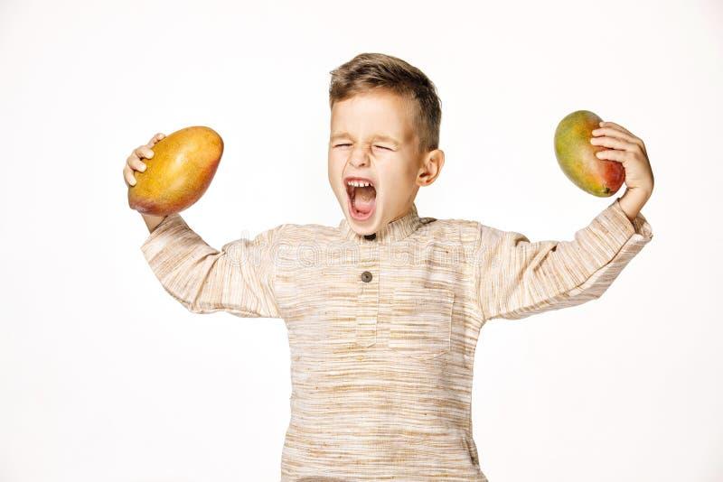 英俊的俏丽的男孩拿着一个芒果 库存照片
